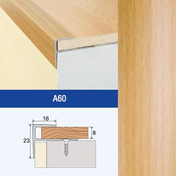 Profil AL schodový skrutkovací F8 16x23/8 mm, fólia Buk, dl. 2,7 m, A60 EFFECTOR (na podlahy hr. 8mm)